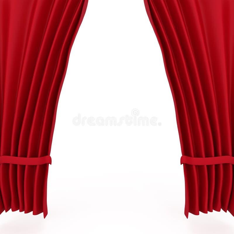 Teatro vermelho Courtains de veludo ilustração stock