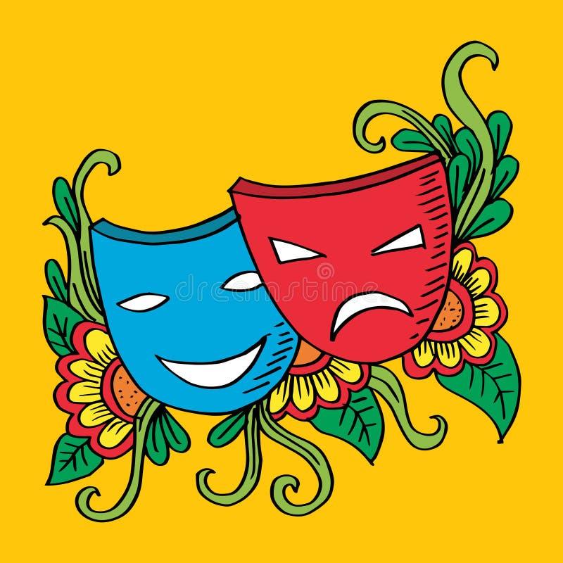 Teatru maski, dramat i komedia, ilustracji