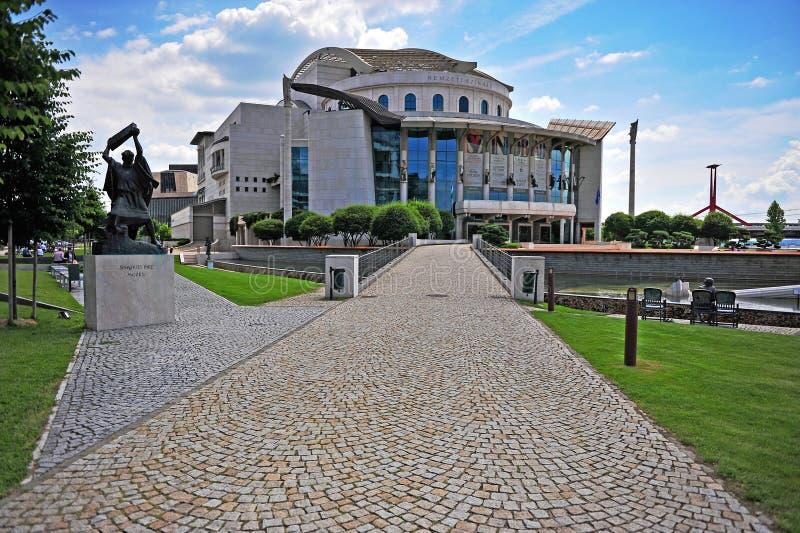 Teatru Narodowego budynek i miasto park Budapest zdjęcie royalty free