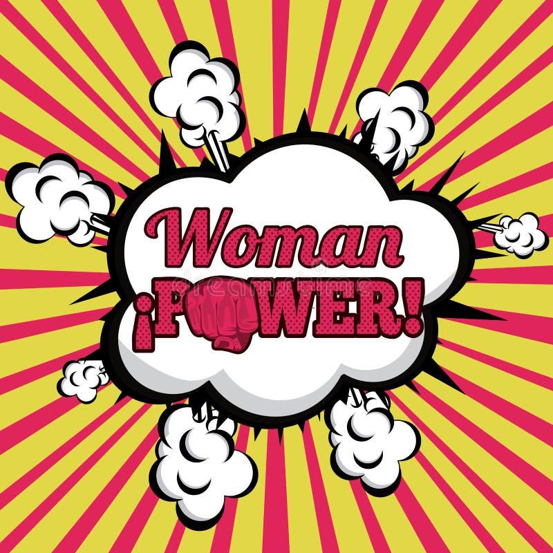 Tebeos del poder de la mujer ilustración del vector