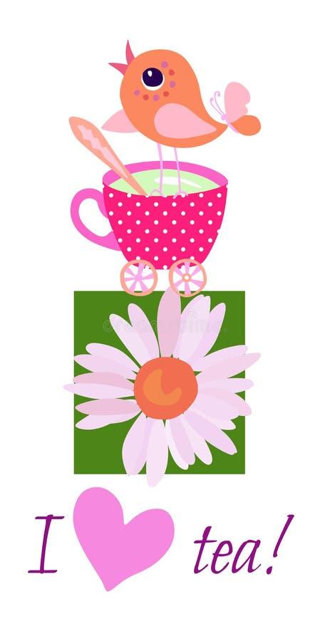Tebjudninginbjudankortet med gulligt litet fågelanseende på kopp te, kamomillblomman och text 'älskar jag te! ', royaltyfri illustrationer