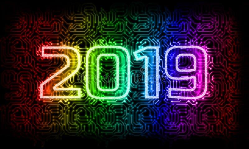 Tech 2019, år för nytt år av teknologi royaltyfria foton
