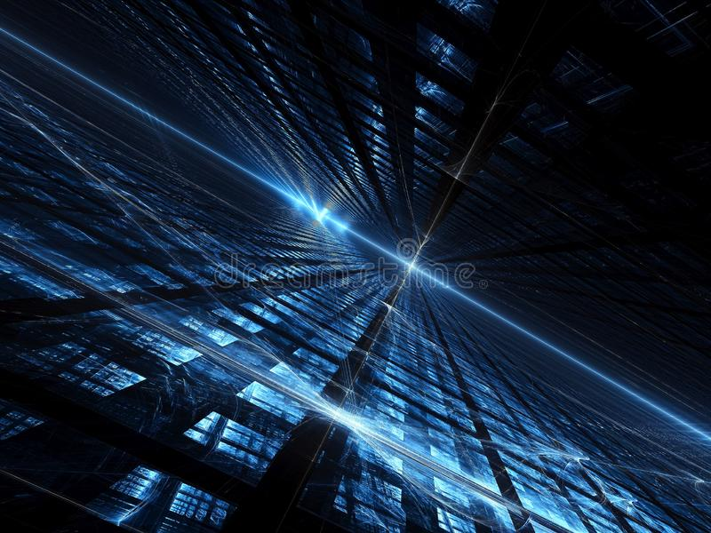 Tech background with grid and lights - abstract digitally genera. Dark blue fractal background with diagonal inlined surface, grid and glowing lines and curves stock image