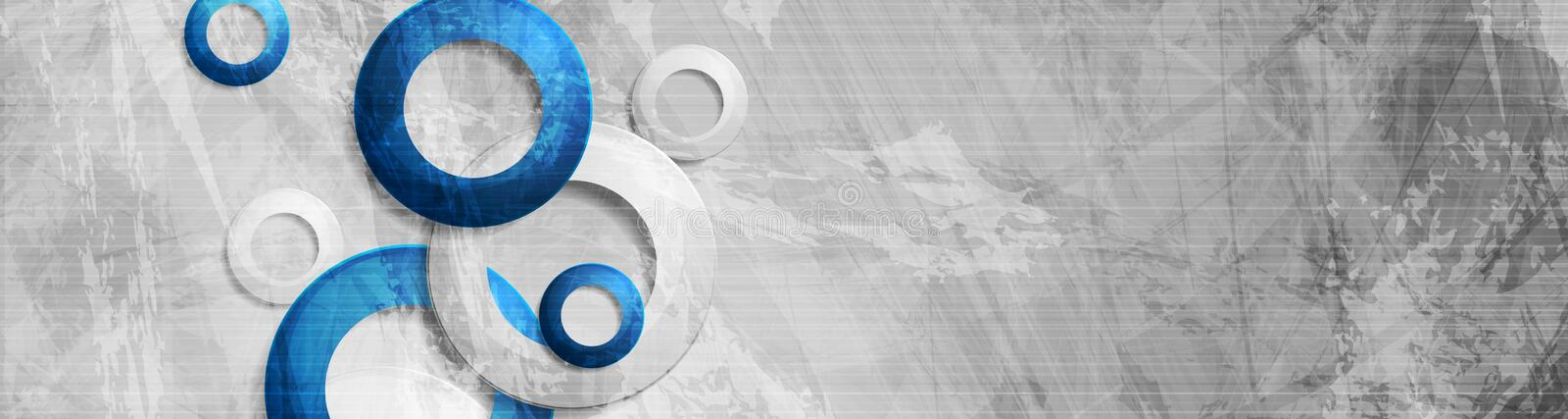 Tech circles on abstract grunge corporate banner royalty free illustration
