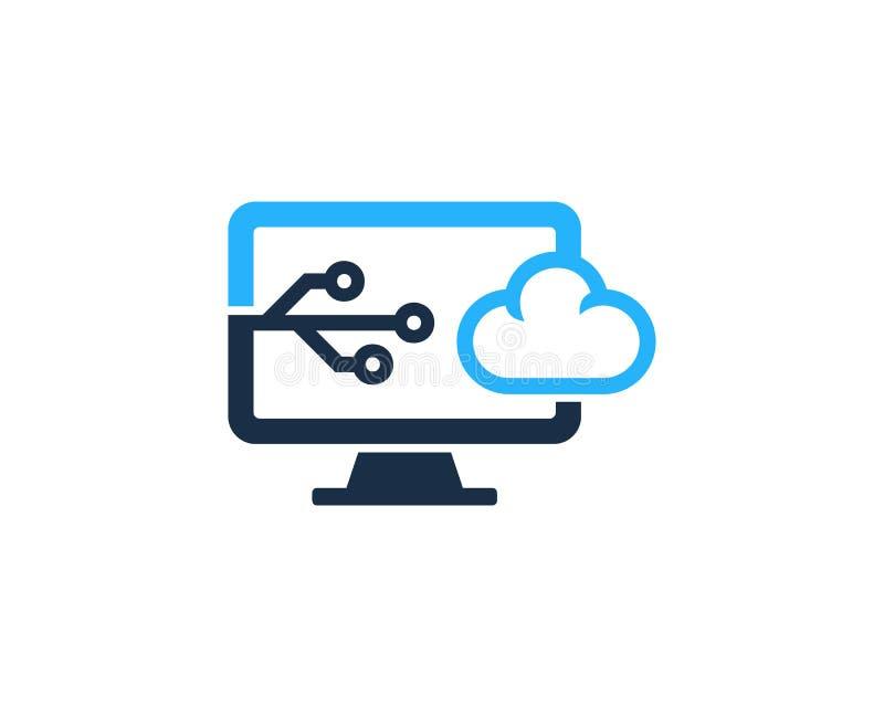 tech cloud computer icon logo design element stock vector
