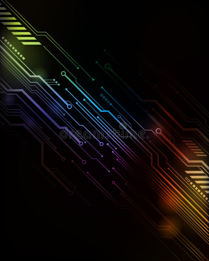 Tech Computer Background. A colourful tech computer circuit background close-up royalty free illustration