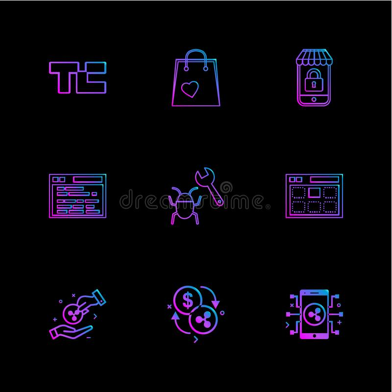 Tech crunch , shopping bag , lockes , website , bug , web , money , coins , crypto , crypto currency , currency , currency. Convert , mobile , icons , flat royalty free illustration