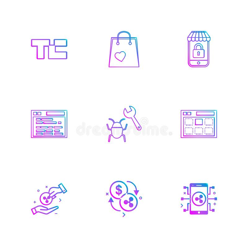 Tech crunch , shopping bag , lockes , website , bug , web , money , coins , crypto , crypto currency , currency , currency. Convert , mobile , icons , flat stock illustration