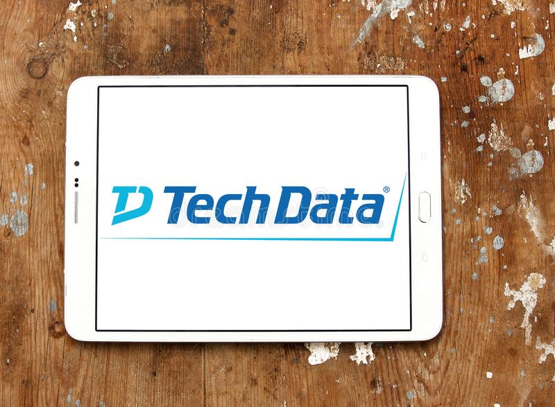 Tech Data company logo. Logo of Tech Data company on samsung tablet. Tech Data is an American multinational distribution company specializing in IT products and royalty free stock photos