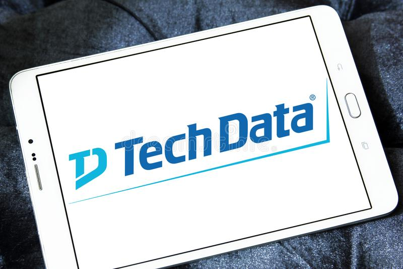 Tech Data company logo. Logo of Tech Data company on samsung tablet. Tech Data is an American multinational distribution company specializing in IT products and stock image
