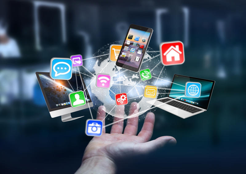 Tech devices and icons connected to digital planet earth royalty free illustration