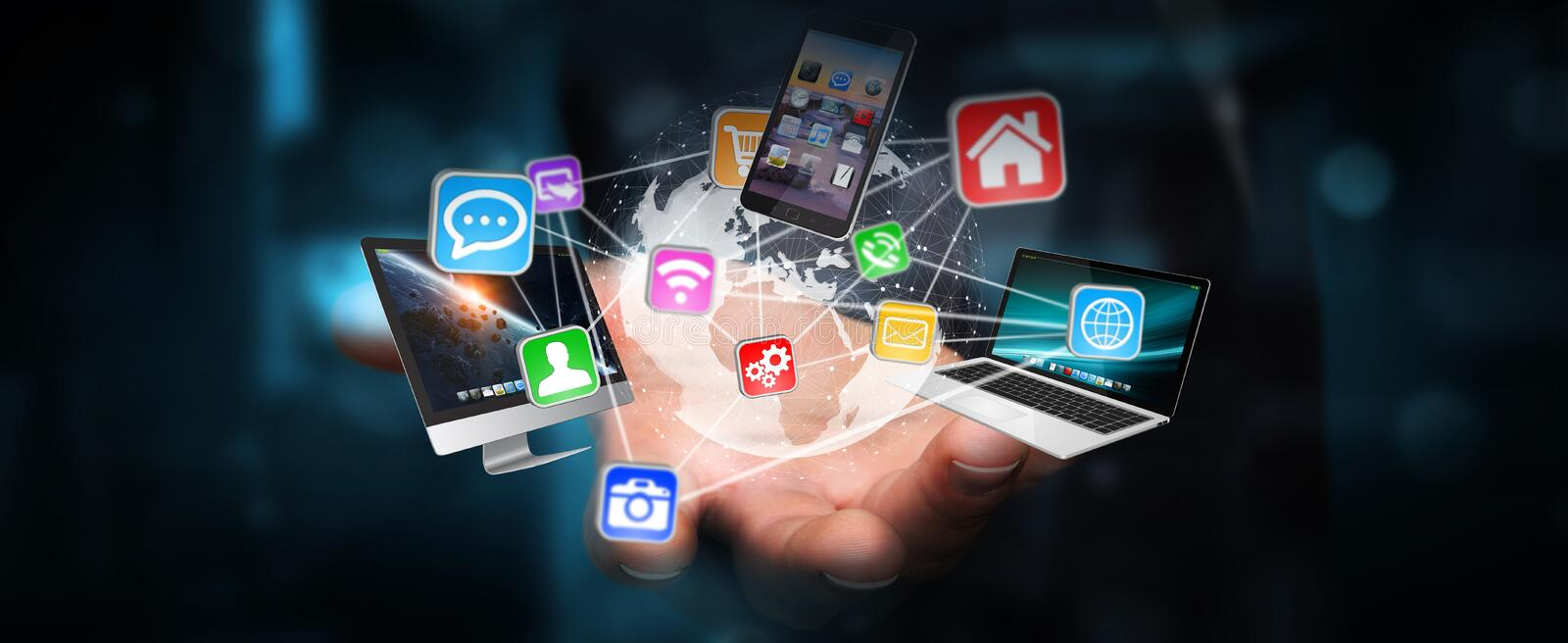 Tech devices and icons connected to digital planet earth stock illustration