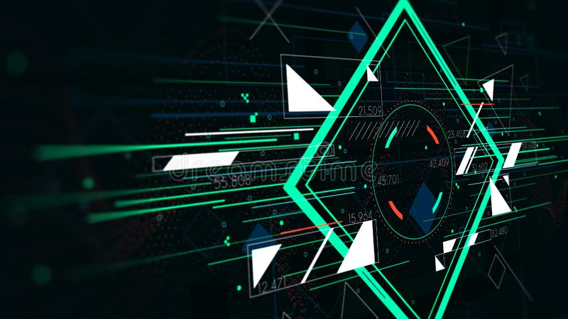 Tech futuristic abstract backgrounds, colorful square, monitor screen in perspective vector illustration