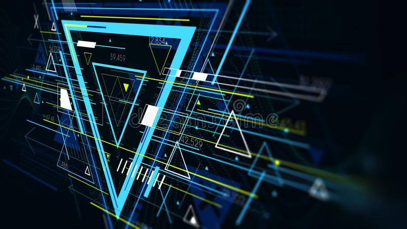 Tech futuristic abstract backgrounds, colorful triangle, monitor screen in perspective royalty free illustration