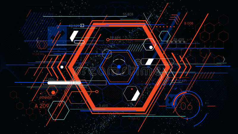Tech futuristic abstract colorful hexahedron, hud vector geometric backgrounds royalty free illustration