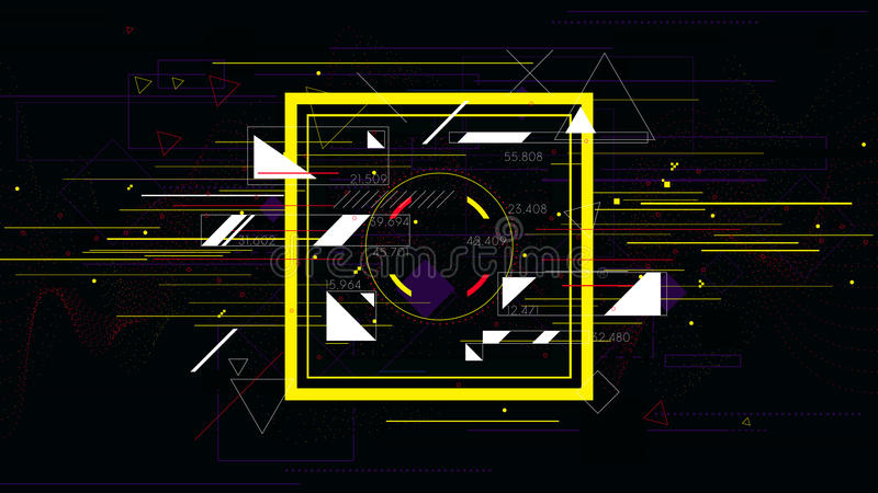 Tech futuristic abstract colorful square, sci-fi vector geometric backgrounds royalty free illustration