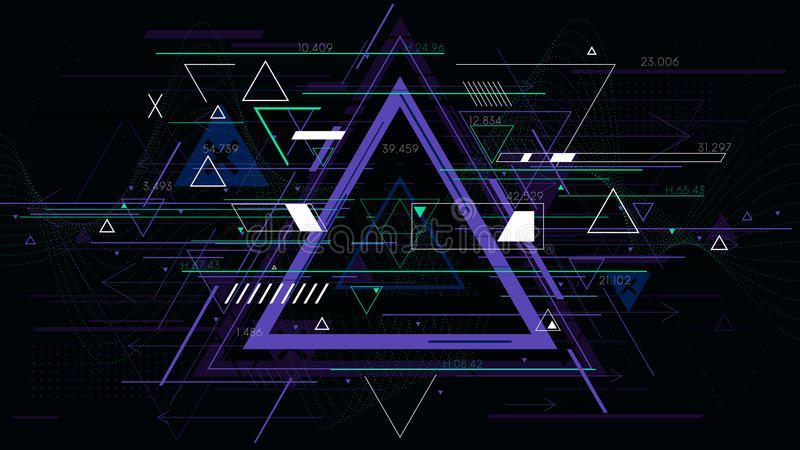 Tech futuristic abstract triangle geometric backgrounds, sci-fi vector illustration royalty free illustration