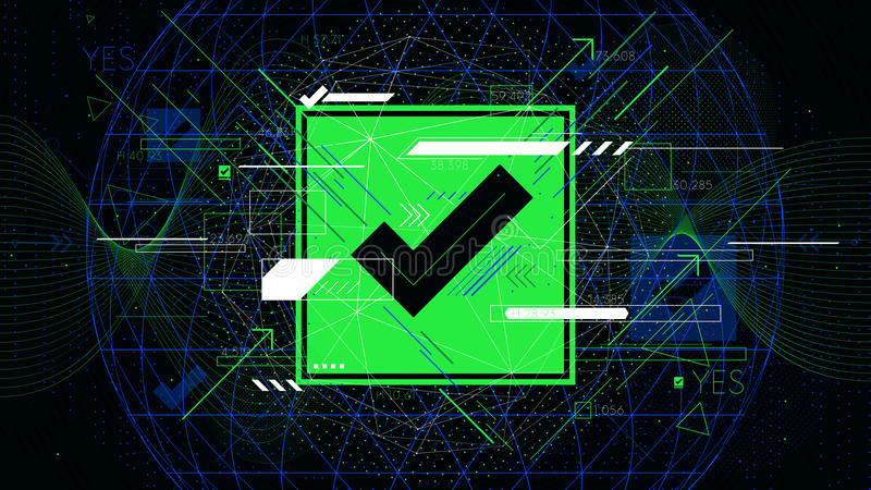 Tech futuristic green check mark symbols OK, indicator sci-fi vector backgrounds stock illustration