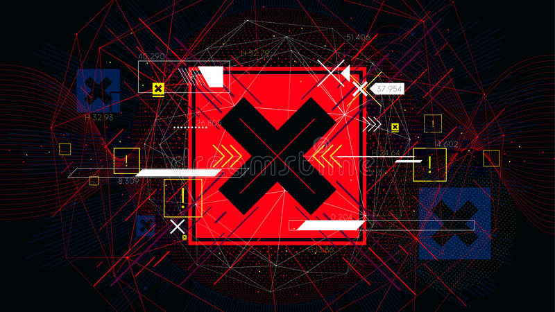 Tech futuristic red cross symbols NO, indicator sci-fi vector backgrounds stock illustration