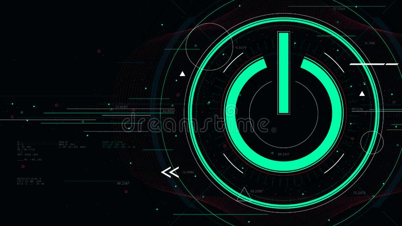 Tech futuristic technology background with power button, start icon sci-fi vector illustration stock illustration