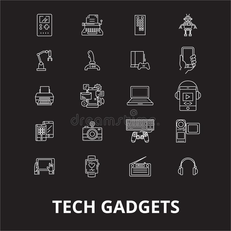 Tech gadgets editable line icons vector set on black background. Tech gadgets white outline illustrations, signs stock illustration