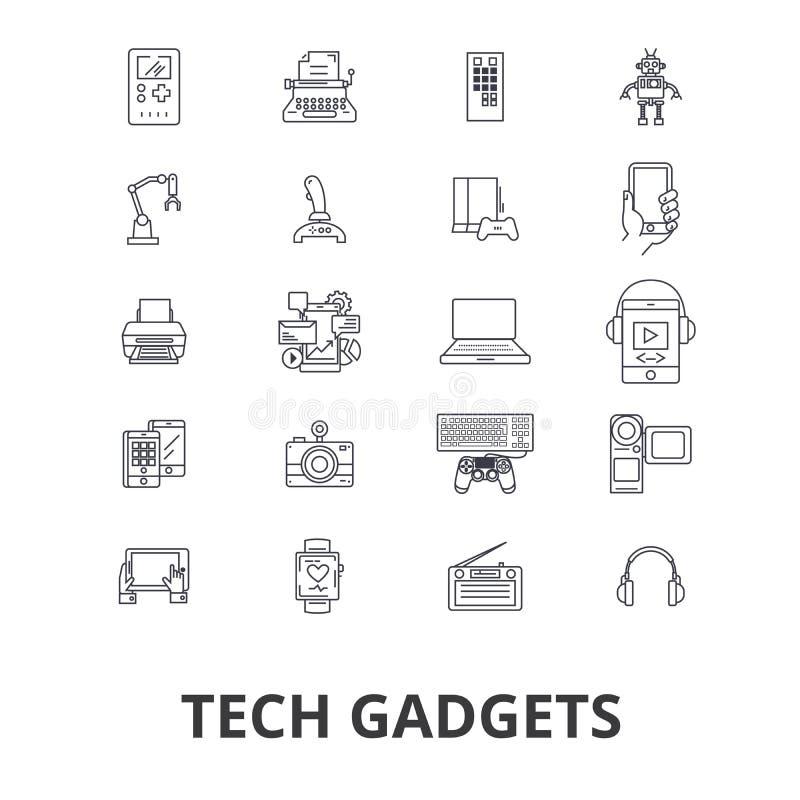 Tech gadgets, technology, electronics, laptop, tablet, camera, headphones line icons. Editable strokes. Flat design. Vector illustration symbol concept. Linear royalty free illustration