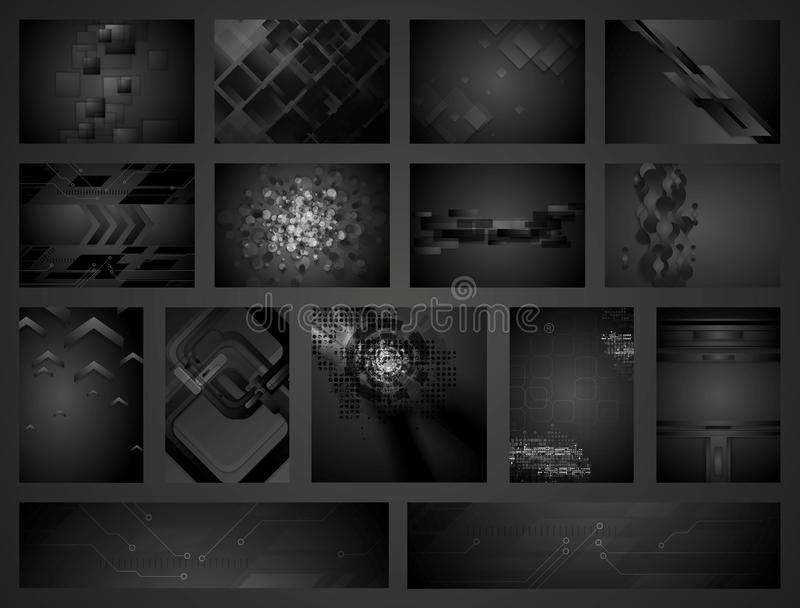 Tech geometric black backgrounds collection. Dark concept vector illustration template design royalty free illustration