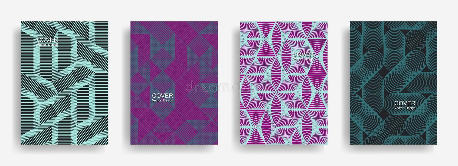 Tech halftone shapes minimal geometric cover templates collection design. royalty free illustration