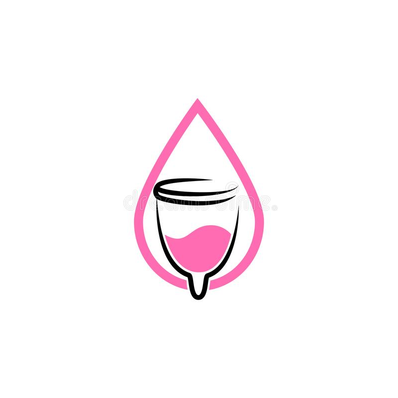 Hand drawn vector illustration of menstrual cup. Can be used as logo or in web design. Sanitary pink cup vector illustration. Mode. Rn flat symbol isolated on vector illustration