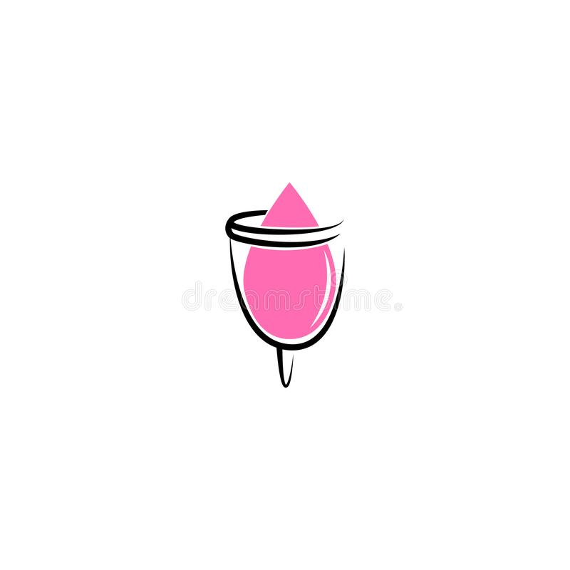 Hand drawn vector illustration of menstrual cup. Can be used as logo or in web design. Sanitary pink cup vector illustration. Mode. Rn flat symbol isolated on stock illustration