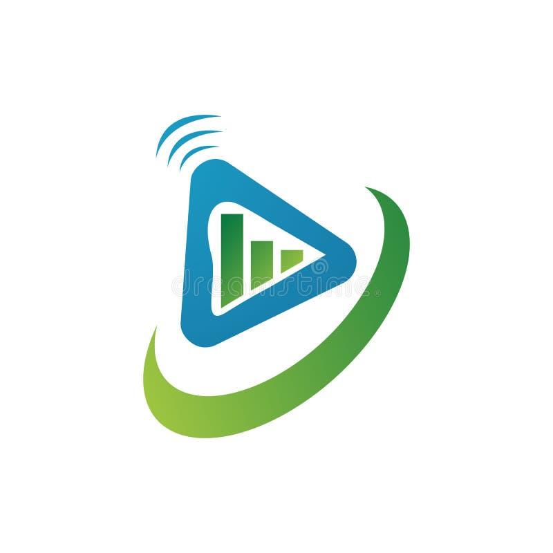 Tech media business marketing video play button logo design icon vector illustration. Web, internet, symbol, modern, glossy, graphic, bright, shiny, circle royalty free illustration