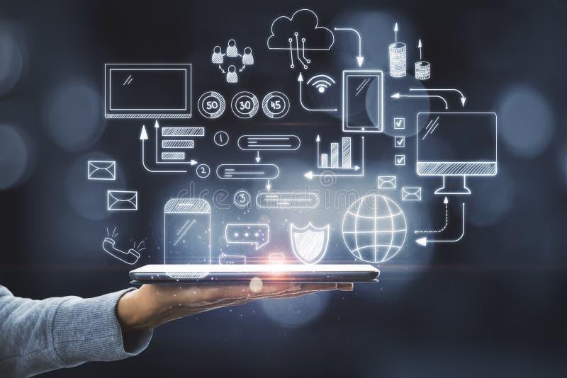 Tech-, nätverks- och kommunikationsbegrepp royaltyfri bild