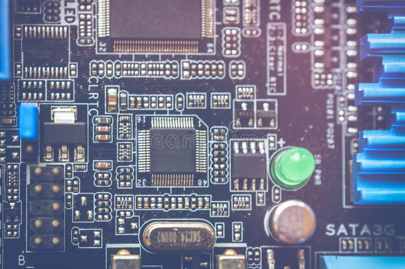 Tech science background. Circuit board. Electronic computer hardware technology. Toned image, macro photo stock image