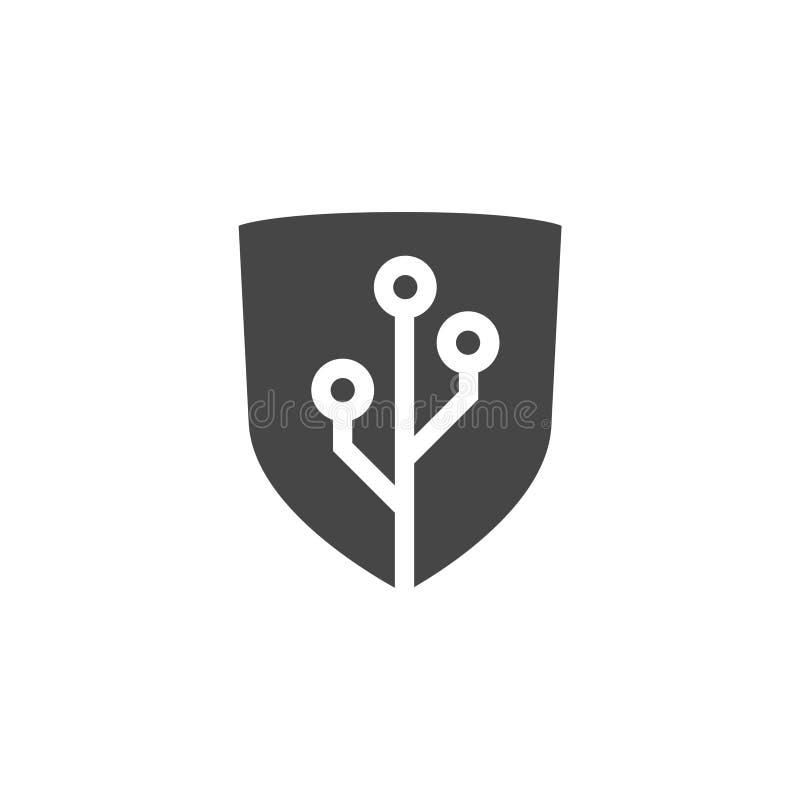 Tech shield security logo, simple icon stock illustration