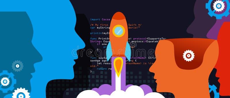 Tech start-up technology programming launch rocket. Vector vector illustration