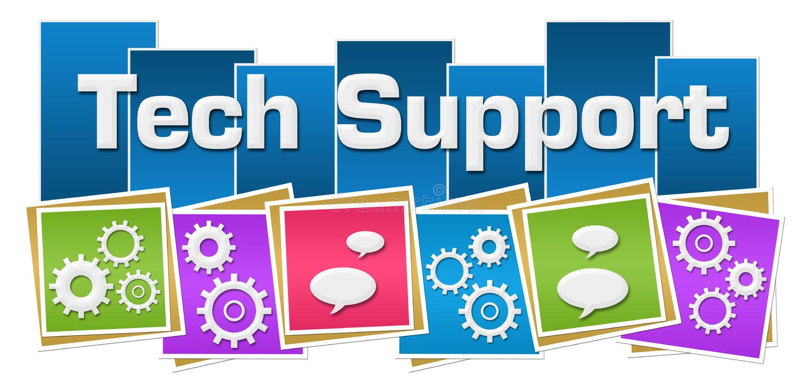 Tech Support Colorful Squares Gears Bottom. Tech support text written over vibrant background with conceptual symbols vector illustration