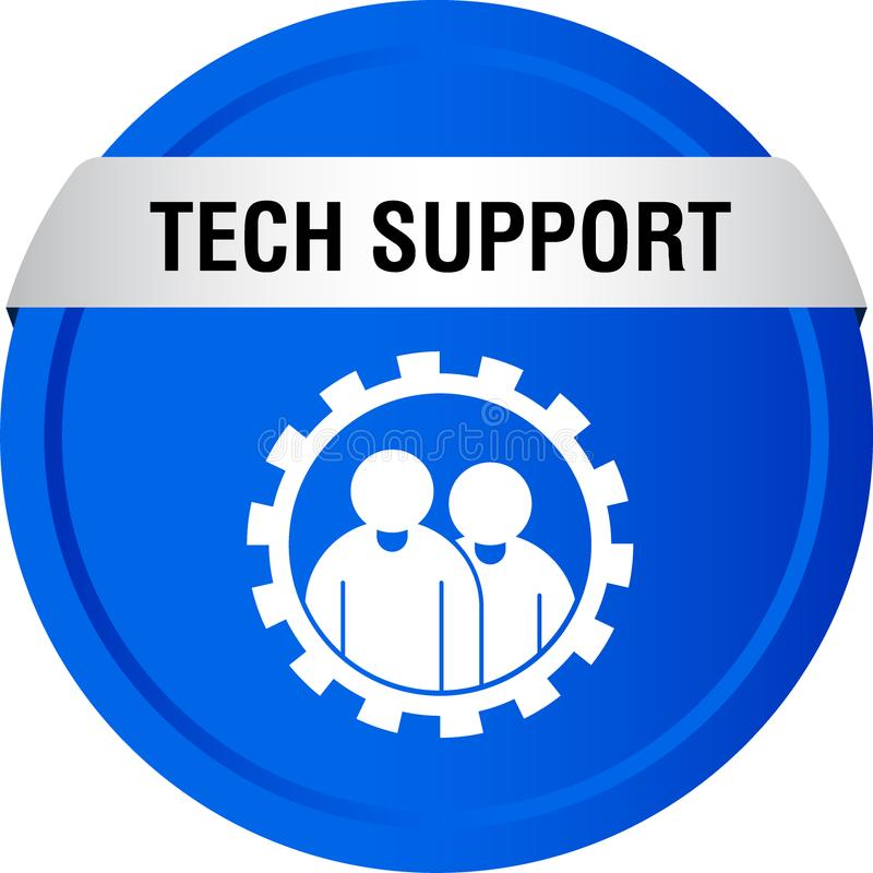 Tech support icon web button. Of vector illustration on isolated white background royalty free illustration