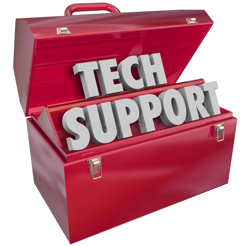 Tech Support Words Toolbox Computer Information Technology Help royalty free illustration