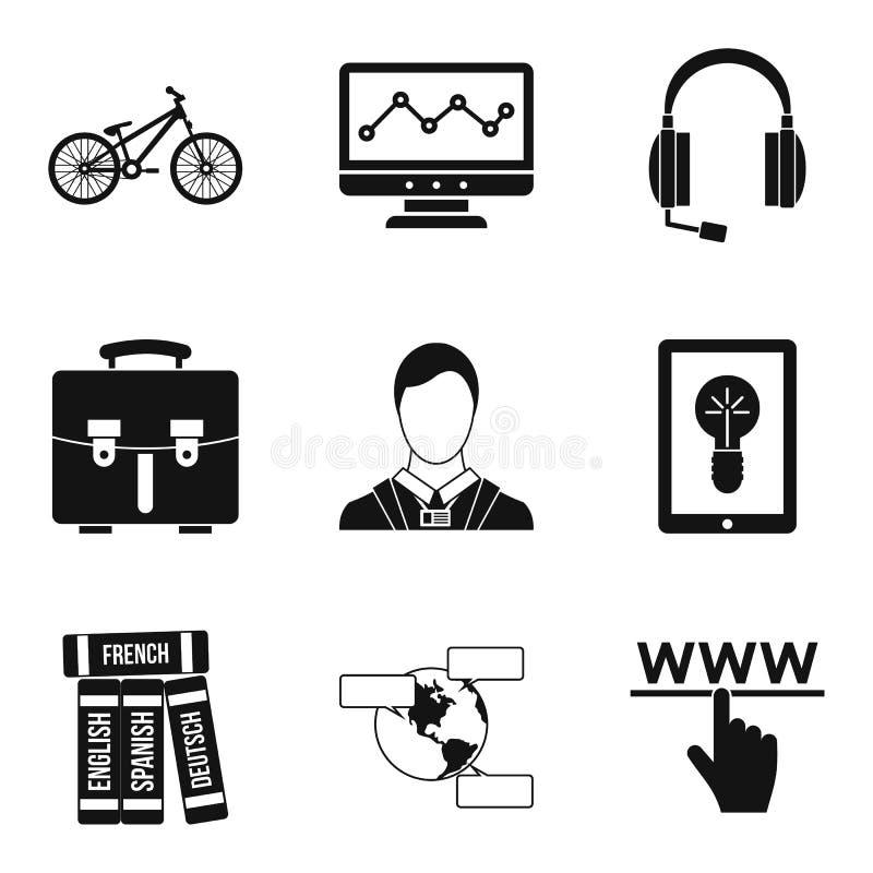 Tech training icons set, simple style royalty free illustration