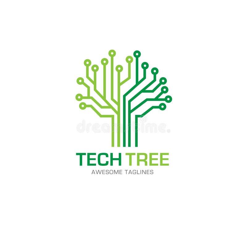 Tech Tree Logo Concept Stock Vector. Illustration Of