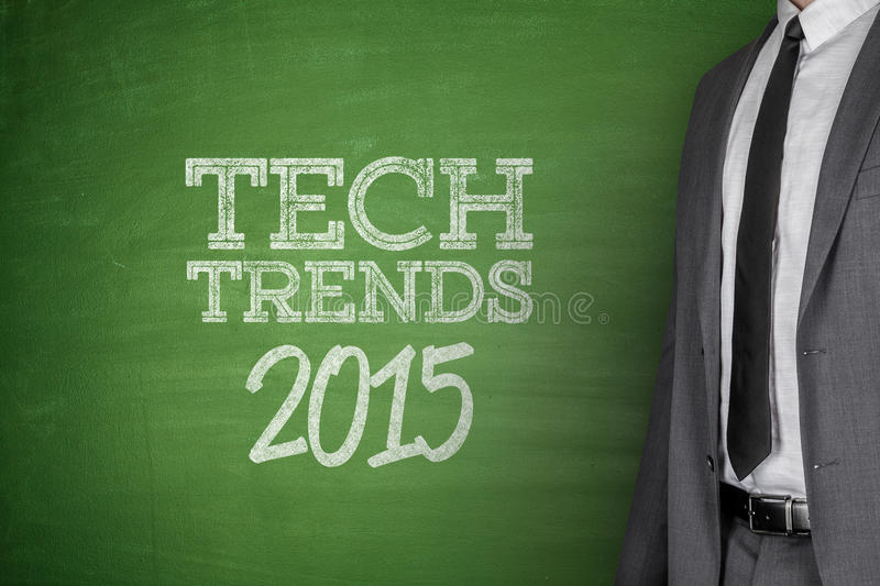 Tech Trends 2015 concept on blackboard royalty free stock image