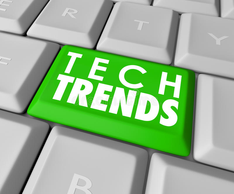 Tech Trends Words Computer Keyboard Button Top Popular Software vector illustration