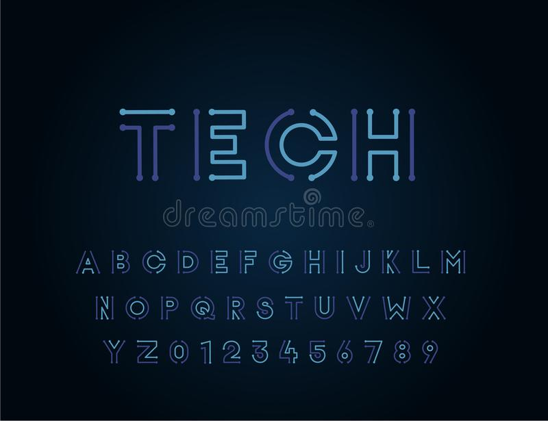 Tech vector font typeface unique design. For technology, circuits, engineering, digital , gaming, sci-fi and science subjects. stock illustration