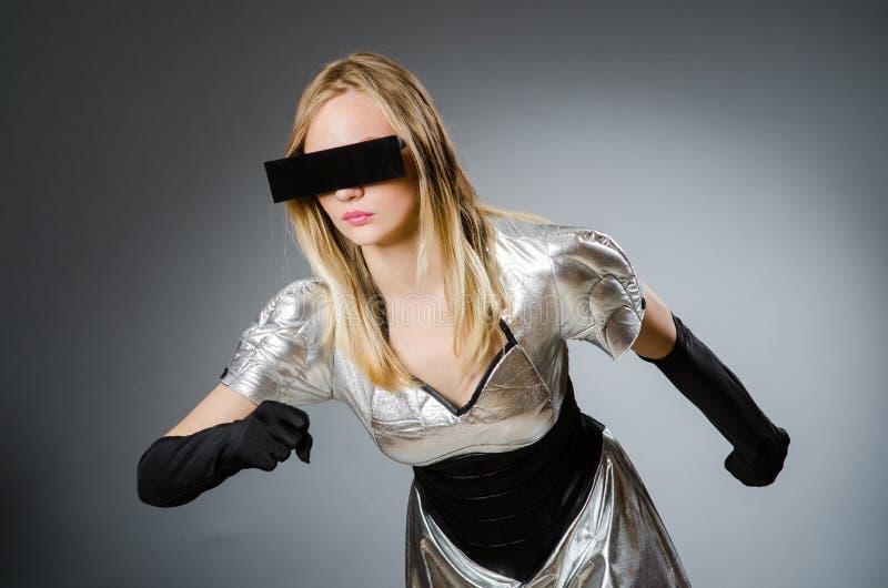 The tech woman in futuristic concept. Tech woman in futuristic concept stock photos