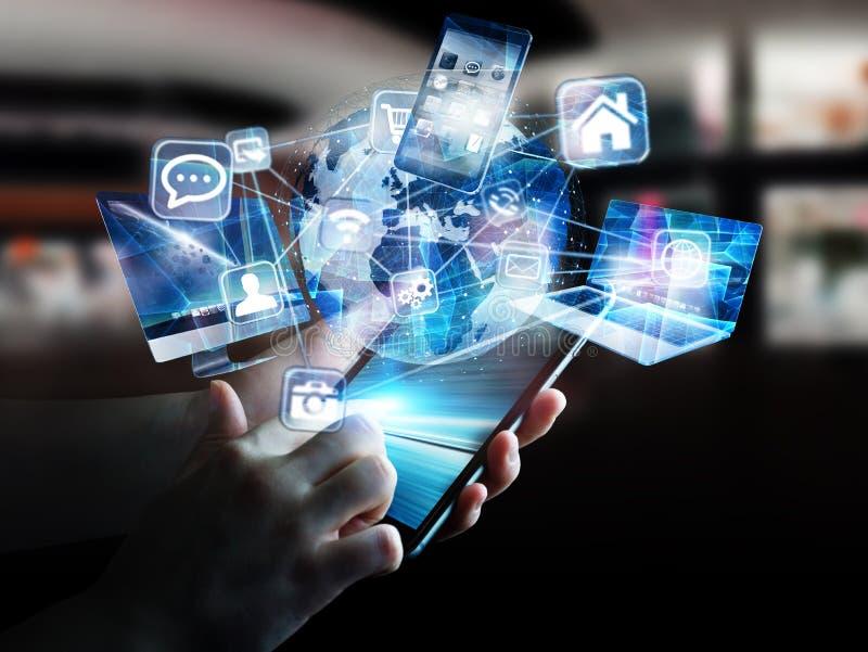 Techapparater och symboler förbindelse till digital planetjord stock illustrationer