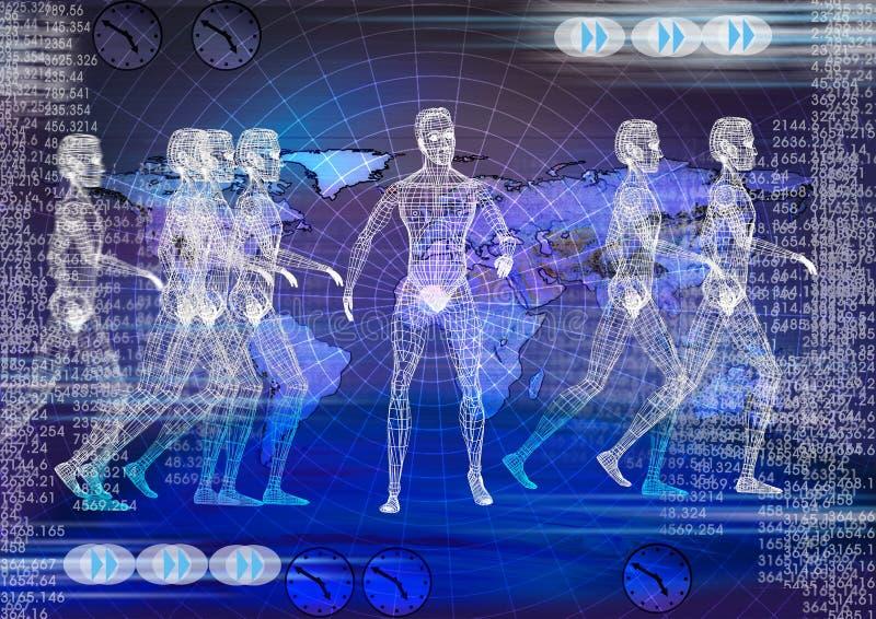 Techbakgrund. Elektronisk teknologi för Biomedical vektor illustrationer