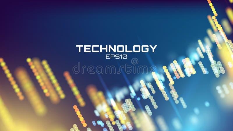 Techbakgrund Tapet för neonglödraster Vetenskapsvisualization stock illustrationer