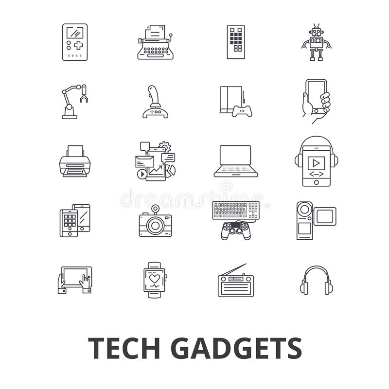 Techgrejer, teknologi, elektronik, bärbara datorn, minnestavlan, kameran, hörlurar fodrar symboler Redigerbara slaglängder Plan d royaltyfri illustrationer