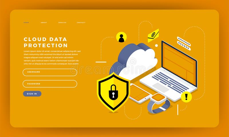 Techn computacional de diseño del sitio web del diseño de la maqueta de la nube plana del concepto libre illustration