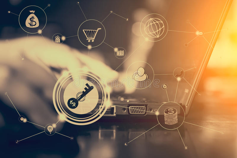 Techn digital em linha Multichannel da rede de comunicação empresarial fotos de stock royalty free